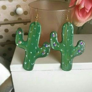 Cactus Swarovski Statement Earrings
